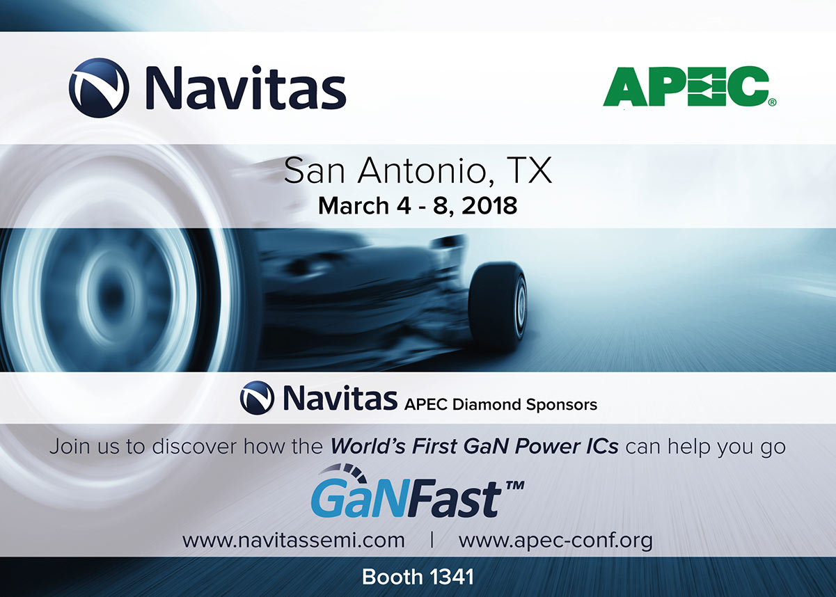 Navitas Showcases GaNFast™ Power ICs at APEC 2018