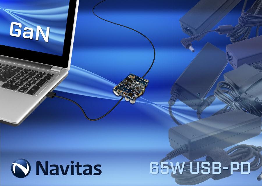 Navitas GaN Power ICs Enable World's Smallest 65W USB-PD Laptop Adapter