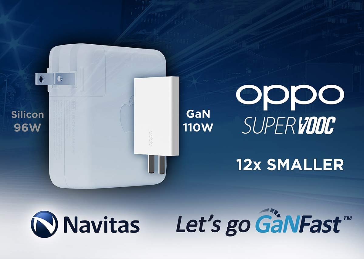 Silicon Chips Are History: Navitas Gallium Nitride Shrinks OPPO's Fast Charger by 12x